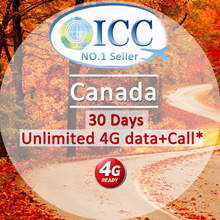 ◆ ICC◆【Canada Sim Card·7/15/30 Days】❤Unlimited 4GLTE Data+Call❤4GLTE data+Call(Can call back SG)