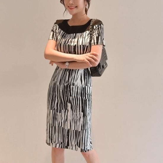 悪女日記】テーラーワンピース シフォン/レースのワンピース/ 韓国ファッション
