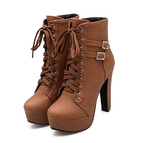Qoo10 Susanny Round Damens Autumn Round Susanny Toe Lace Up Ankle Buckle Chunky 005a7b