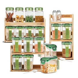 Lock and Lock Seasoning Condiment Spice Food Storage Containers Wood case 4p6p8p Set