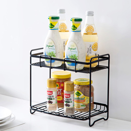 Wrought iron spice rack condiment kitchen storage rack Kitchen floor shelf double storage rack