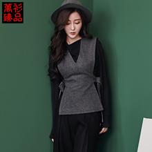 Jersey Irene v-neck, with woolen vest fall/winter 2016 new thick slim sleeveless vest women