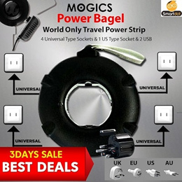 GEN 2 MOGICS BAGEL Universal Travel Power Strip adapter FREE EXTRA FUSE