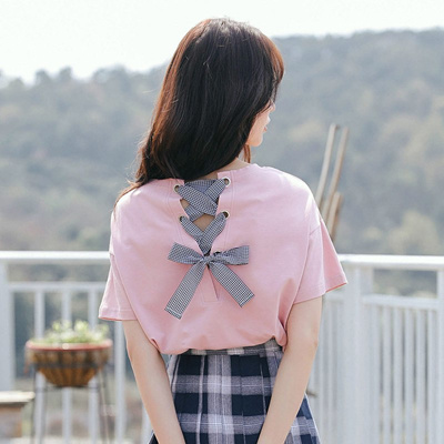 4a33d0f0 pink women t shirt back bow tie letter print short sleeve cotton comtable  tshirt loose girls