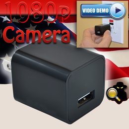 USB HD 1080P IP SPY Wall Adapter Charger Camera Hidden Camera Pinhole Recorder Camcoder DV  The SD C