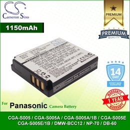 CameronSino Battery for Panasonic CGA-S005 / CGA-S005A / CGA-S005A/1B Battery 1150mah CA-NP70FU