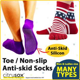 TOE SOCKS | ANTI-SKID SOCKS | NON SLIP SOCKS | NO-SHOW ANKLE CREW LENGTH | sizes for men and women