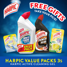 Harpic Value Packs 3s + Free Harpic Fresh Power + Harpic Power Plus