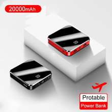 20000mAh Portable Mini Power Bank Mirror Screen Digital Disply Powerbank External Battery Pack