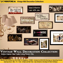 Vintage Wall Decoration Collections A - Retro Fashion Sign Board Car Plate Bottle Cap Quote