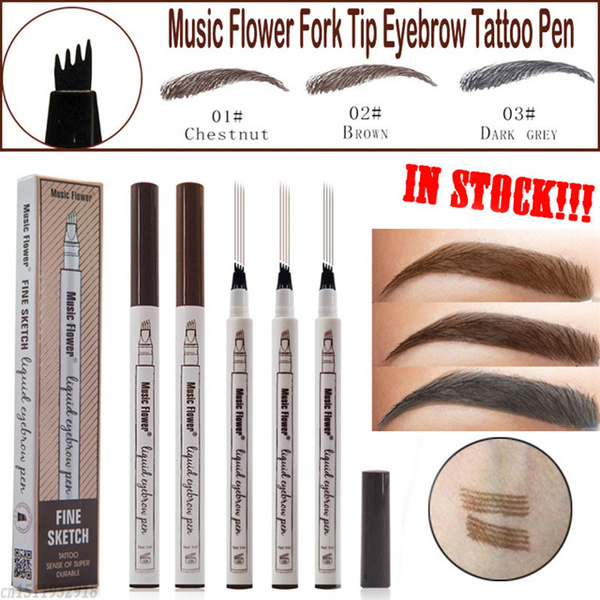 Buy Music Flower Fine Sketch Liquid Eyebrow Pen Waterproof Tattoo