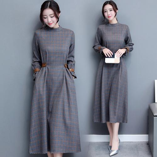 高品質韓国ファッション2017の秋には新型に詰めて丸首ワンピース