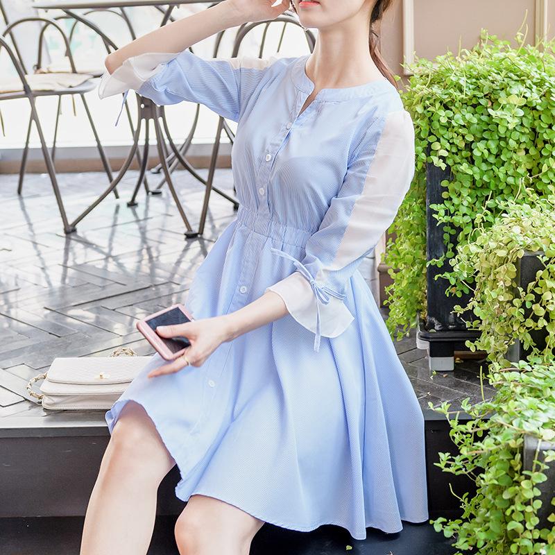 2017早秋  韓国ファッション  レディース  ワンピース 流行 体型 カバー  長袖 可愛い  上質  SKZ168