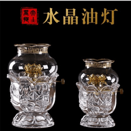 Oil lamp/Crystal Lotus Oil Lamp Buddha Front Light for Buddha Lights for Light Household Liquid Butt