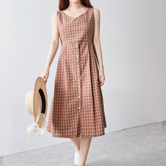 イニクレシピチェックOPSワンピース 綿ワンピース/ 韓国ファッション