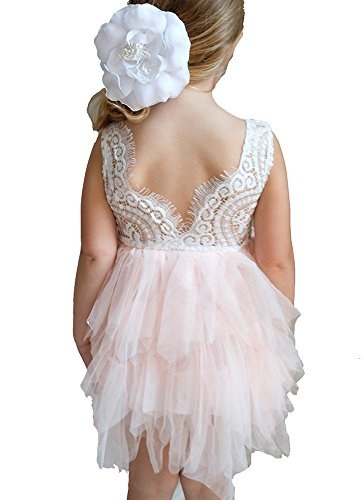 Pop Sparkle Flower Girl Dress - Lace with Pink or White Chiffon Tulle Tutu (12