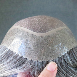 Top Mens toupee Human Hair replacement wig thin skin hair systems men grey hairpieces skin toupee ha