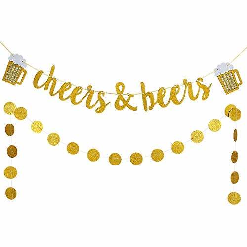Gold Glittery Cheers & Beers Banner and Gold Glittery Circle Dots Garland  (25Pcs Circle Dots),Bachel