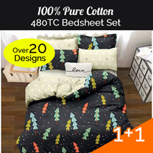 Buy 1 Get 1 Free New Designs!!!!480 Thread Count Combed Cotton Bedsheet Set.