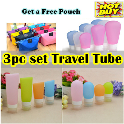 COUPON · 3 pc☆Silicone Travel Tube☆Refillable Squeezable☆ Foldable Cup ☆  Toothbrush Holder d494a1e628