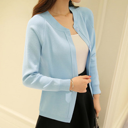 Warm spring and summer the new Ley simple five sleeves folded thin knitted women sweater Cardigan th