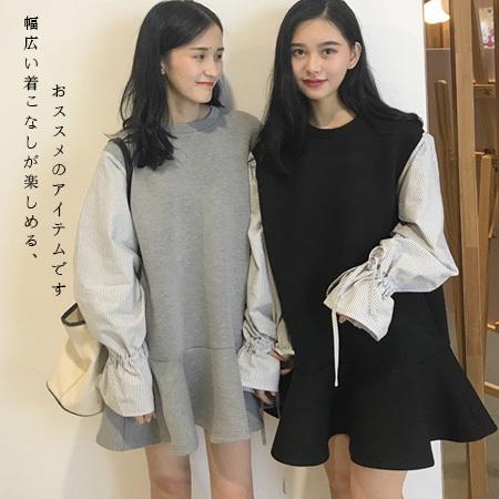 【Eva353】韓国ファッション2017年新作/高品質/ワンピースアイテム/ビッグサイズ/ユルイタイプ/欧米スター愛着、大人可愛い 綺麗め カジュアル フェミニン