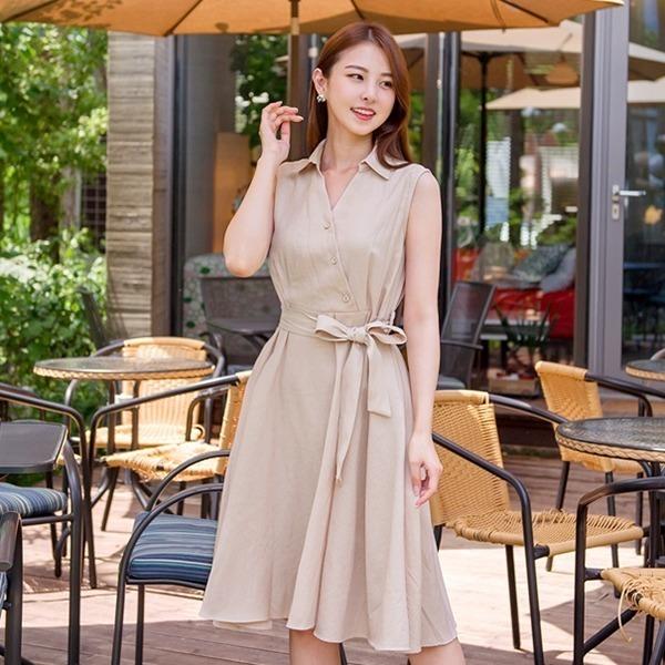 クルレルミュ・サマーリンネンココナッツ、袖なしのリボンベルトワンピースnew ノースリーブ/トップワンピース/ワンピース/韓国ファッション