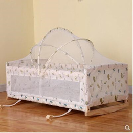 Solid wood paint-free baby cradle bed newborn cradle mute independent I-shaped cradle