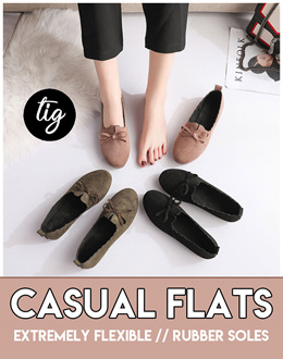 TIG ★ FLEXIBLE COMFY CASUAL FLATS ★ FREE SIZE ★ 3 COLORS★