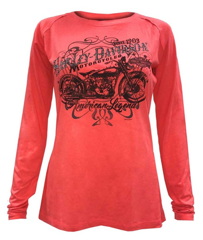 ccbbd33c7f05 Harley-Davidson Women s Lattice Embellished Long Sleeve Raglan Shirt, Coral