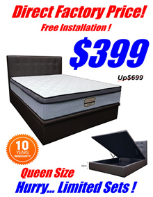DIRECT FACTORY PRICE.QUEEN SIZE STORAGE BEDFRAME $399