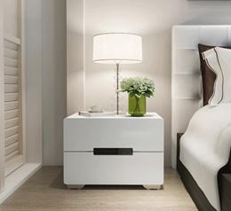 Modern Elegant Glossy White Bedside Table