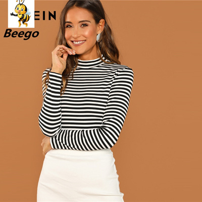 Modern Lady Black and White Slim Fit Mock Neck High Neck Striped Rib Knit  T,shirt 2019 Autumn Campus