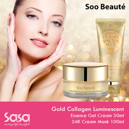 [Soo Beauté] GOLD COLLAGEN LUMINESCENT ESSENCE GEL CREAM / GOLD COLLAGEN LUMINESCENT 24K CREAM MASK