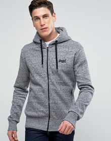 Superdry Zip Through Hoodie In Gray Marl