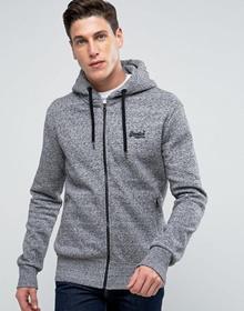 Superdry Zip Through Hoodie In Gray Marl