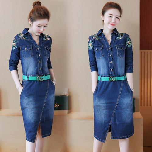 韓国のファッションの新型の2017の秋の長袖の刺繍のデニムのワンピース