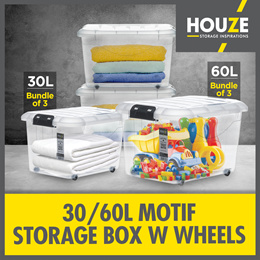 ♦ Bundle Of 3 ♦ Storage Boxes Collection ♦ 30L  - 60L Capacity ♦ Strong And Durable ♦ 100% Virgin PP