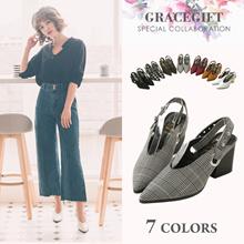 [Free Gift!!] Gracegift-Model Kerina Collab V-Shape Sling Back Heels/Women/Ladies/Girls Shoes/Taiwan
