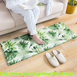 Pastoral Welcome Floor Mats Green Leaves Printed Bathroom Kitchen Carpet House Doormats for Room