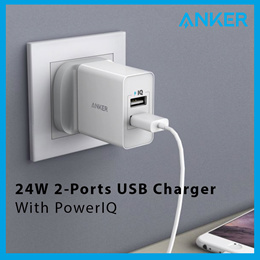Anker 24W 2-Ports USB Charger With PowerIQ [SG Plug] 100% Authentic Fast Delivery