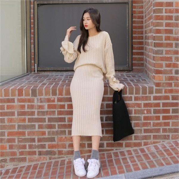 レトゥン・ニットツーピースセットnew / 体型カバーになる / 秋ワンピース / ニット・ワンピース / 韓国ファッション妊婦服 /