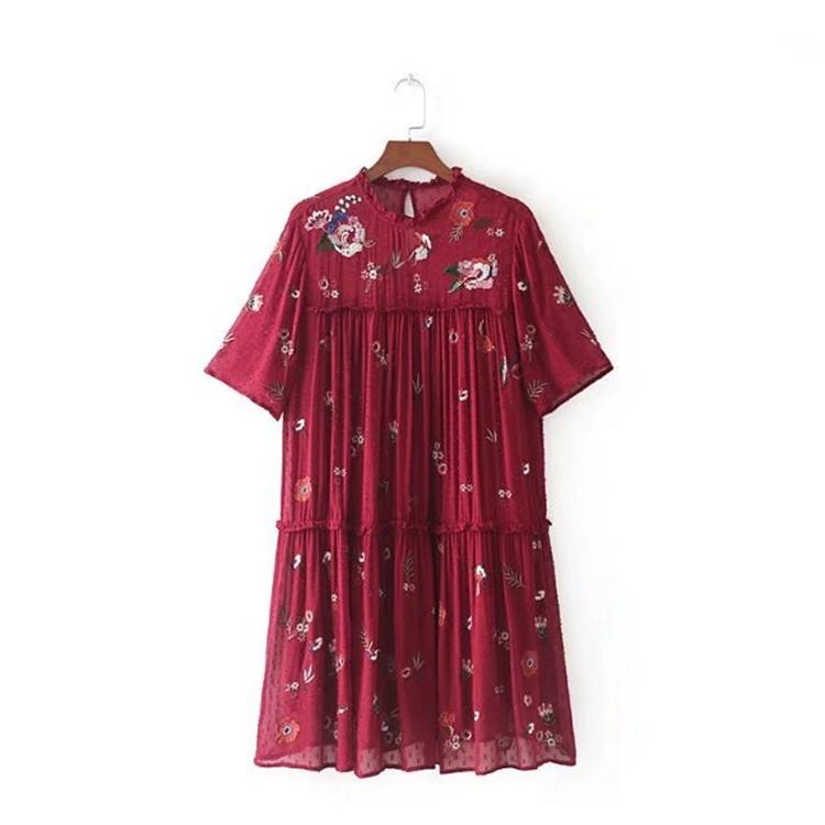 2017年秋冬の新型、対外貿易単半袖丸首欧米スカート女性マキシ百搭刺繍シフォンワンピース