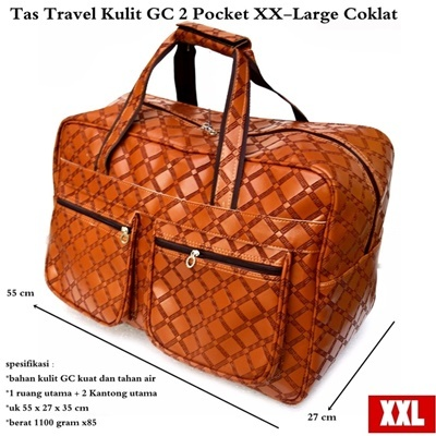Tas Travel Kulit Suede GC 2 Pocket XX-Large