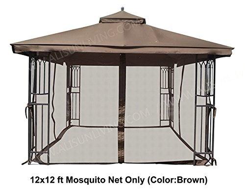 [ALISUN] 43233-8974 - Universal 12 x 12 Gazebo Mosquito Netting (Brown)