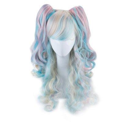 Women Multicolor Long Curly Hair Wig 2 Ponytails Roromiya Karuta Cosplay Gradient Rainbow