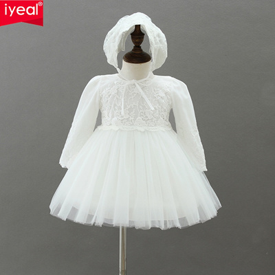66e2cb026b0ab IYEAL Baby Girls Wedding Party Dresses Christening Gown Infant Newborn  Princess Birthday Long Sleeve