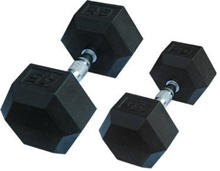 Brand New Premium Rubber Coated Hex Dumbbell with Contoured Chrome Handle. 10KG to 20KG.