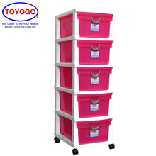 Toyogo Plastic Storage Cabinet / Drawer With Wheels (5 Tier) (604-5)