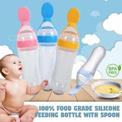 100% Food Grade Silicone Feeding Bottle with Spoon #happy eating baby #mess free feeding